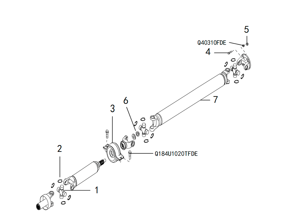вал карданный 4х2 PROPELLER SHAFT ASSEMBLY(1)