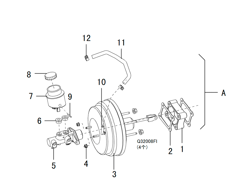 вакуумный усилитель в сборе с главным тормозным цилиндром