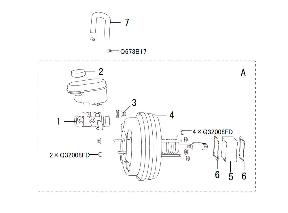 вакуумный усилитель в сборе с главным тормозным цилиндром 4