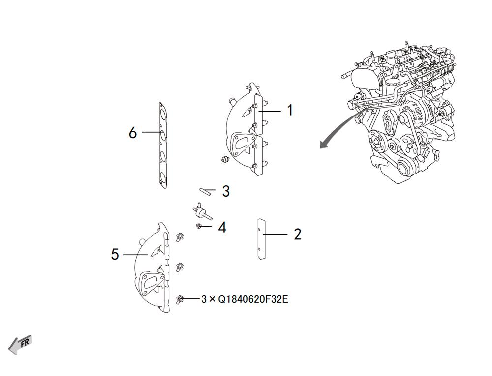4C20 - выпускной коллектор