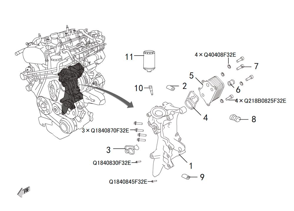 4C20 - система охлаждения масла