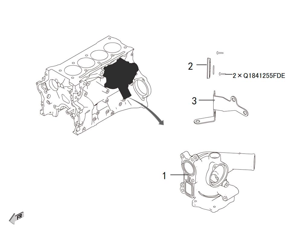 4C20 - водяная помпа монтаж