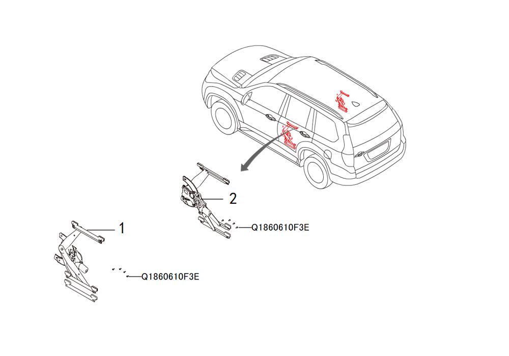 стекло подъёмник  задних дверей