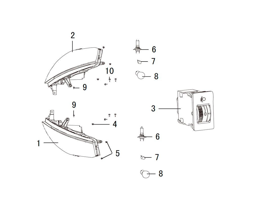 передние комбинированные фары